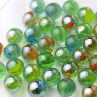 【限定商品】ガラス球 リーフミックス緑パール 直径約16mm 約100個入