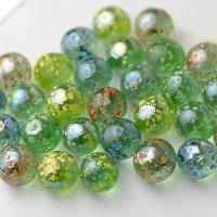 【限定商品】ガラス球 水玉マーブル緑ミックス 直径約16mm 約100個入